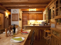 The fully equipped chalet kitchen  is ideal for self catered cooking