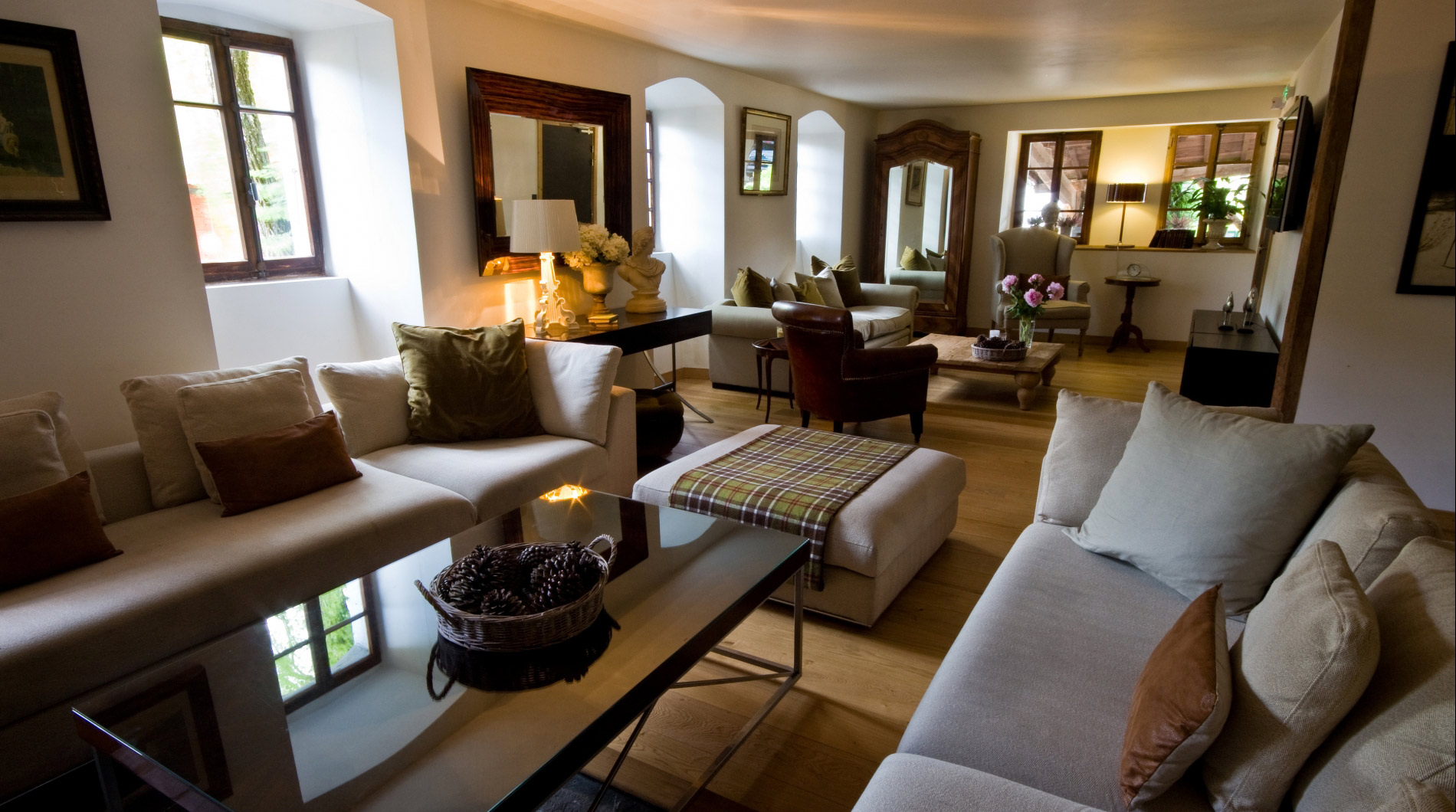 The living area is hugely spacious and comfortable for guests